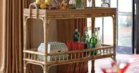South Seas Bar Cart - I like the look of this rattan cart. It has wheels so it can be easily moved from place to place and I like the railing around the bottom shelf so that things wouldn't fall off. If I had room in my house I would so buy this!