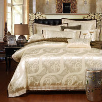 SunnyRain 4/6-Pieces Jacquard Luxury Bedding Set Queen King Size Bed Set Imitated Silk Cotton Lace Duvet Cover Bed Sheet