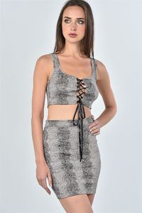 20% discount with BESTDEAL at checkout! Ladies fashion taupe snake print lace up crop top and mini skirt two piece set $26.50