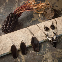 Black Coffin Jewelry set with hypoallergenic Earrings Hooks, Dark Stained glass, Witchy Earring, Spooky Goth, Deathrock, Gothick style $15.00