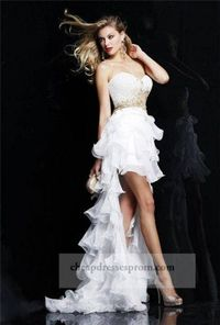 Gold White Sequin Short To Long Prom Dresses