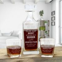 Fathers Day Whiskey Decanter with Two Whiskey Glasses and Optional Gift Box
