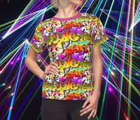 Graffiti Pop Women's Shirt Moisture Wicking Strong Elastic Fabric Vibrant Durable Colors Best Quality Pigment Inks Sizes XS - 2XL $21.99 https://www.etsy.com/shop/LAFabriKDesigns?ref=ss profile