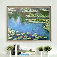 Claude Monet Water lilies Oil painting on Canvas Lotus Pond Wall Pictures dinning room decor Reproduction Flower painting cuadros abstractos $79.00