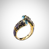 SILVER NATURAL OPEN TOPAZ RING $56.99