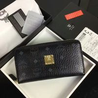 MCM Color Visetos Leather Long Wallet In Black