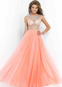 2015 Coral Pink High Illusion Neck Beaded Long Prom Dress