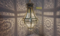 Antique Moroccan Brass Ceiling Light - Hanging pendant Lampshade Lamp - Moroccan Copper Lantern - Marrakesh Lamps and lights $160.00