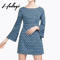 Vogue Sexy Open Back Printed Slimming V-neck 9/10 Sleeves Fall Dress - Bonny YZOZO Boutique Store