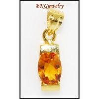 Natural Gemstone 18K Yellow Gold Citrine Solitaire Pendant [P0047]