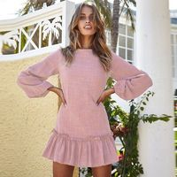 2018 Autumn Winter Women Mini Dress Sexy O Neck Long Sleeve Ruffles Short Dresses Casual Streetwear Dress Vestidos $11.99