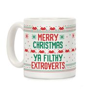 Who do you know who would love this? Merry Christmas Ya Filthy Extroverts Ceramic Coffee Mug Handcrafted in the USA! $14.99