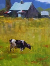 Home Pasture cows in the landscape, oil painting.., painting by artist Robin Weiss