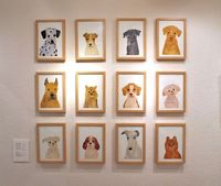 Framed photos of your dog is going too far but for some reason this is perfect. Dog portraits by Itsuko Suzuki via Miss Moss