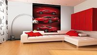 1 Wall 1Wall Ferrari Racing Car Feature Wallpaper Mural, Wood, Red, 1.58 x 2.32 m This is a high quality product from SHH Interiors Ltd. 1Wall Wallpaper Wall Murals are very versatile, simple to hang and create a stunning atmosphere in any room. (Barc...