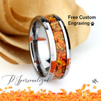 Crushed Fire Opal Inlay 8mm Tungsten Wedding Band Men & Women, Black Ceramic Wedding Band For Men For Women, Fire Opal Ring, Promise Gift $150.00