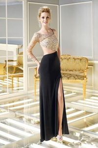 One Long Sleeve Black Cutout Rhinestones Prom Dresses 2014