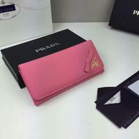 Prada 1M1132 Corner Bow Saffiano Leather Wallet In Pink