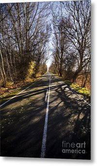 Travelling Scenics Metal Print | Gorgeous vertical landscape of a road pathway shadowing a bright and colourful winter scene in rural Tasmania | #traveldecor #travellingart #wallart #bandbdecor #interiordesignart #interiordecor #swanseatasmania #roadartwo...