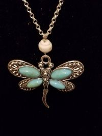 Silver and Turquoise Dragonfly Pendant Necklace $10.00