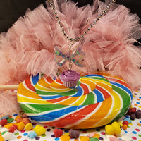 Stawberry Glitter Bow Cupcake Charm Necklace $16.00