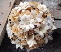 Ivory Bouquet Made of Wood and Cornhusk Flowers | AccentsandPetals - Wedding on ArtFire