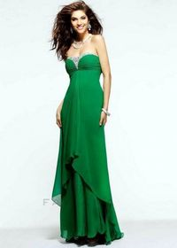 Long Jeweled Neckline Ruched Faviana 7101 Green Open Back Evening Dress