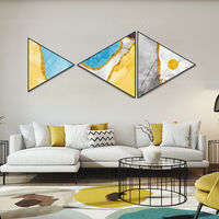 Framed painting Set of 3 wall art Gold art yellow blue polygon paintings on canvas original Creative Triangle Triangular Hang Paintings $429.00