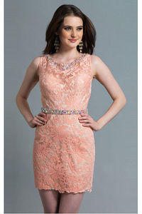 Lace Natural Short Jewel Sheath Party Dresses