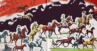 """Endpapers. From """"The First Book of Horses"""" by McLennan McMeekin; illustrated by Pers Crowell."""