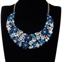 New Fashion Jewelry Cluster Colorful Crystal Flower Pendant Choker Bib Necklace