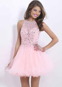 High Neck Pink Beaded Bodice Open Back Tulle Party Dress
