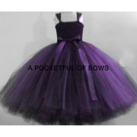 Eggplant Plum Flower Girl Tutu Dress, Long Tulle Dress, Girls Ball Gown, Girls Formal Dress - Hand-made Beautiful Dresses|Unique Design Clothing