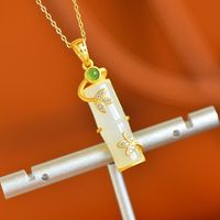 S925 Silver Gold Plated Necklace-Hetian Jade Bamboo Festival Pendant-Creative Jewelry Pendant-Bridal Gift-Fashion Jewelry Necklace