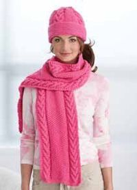 Pink Cable Hat and Scarf free