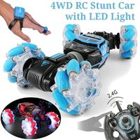 4WD RC Stunt Car Watch Control Gesture Induction Electric Drift Transformer Kids Toys with LED Light
