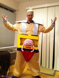 Marq: My fiance kept insisting I be the villain Krang from Teenage Mutant Ninja Turtles. So I used this as inspiration and a guide. We got a cheap sumo costume