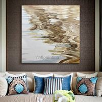 Modern abstract Canvas oil painting brown sea wave original acrylic Wall Art pictures for living room huge size cuadros abstracto wall decor $104.75