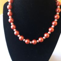 Orange pearl necklace, graduation gift, gift for any special occasion $27.00