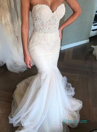 Sexy illusion mermaid #weddingdress