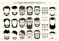 Hipster mustache and beard fashion silhouette Royalty Free Vector Clip Art