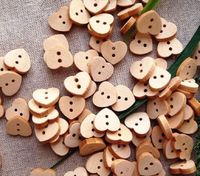 Pack of 100 Wooden Heart Buttons. Natural Wood Colour Children's Fasteners. 10mm Plain Design £4.49