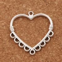 Pack of 20 Silver Coloured Heart Charms. Valentine's Day Romance Jewellery. 26mm x 28mm. £6.99