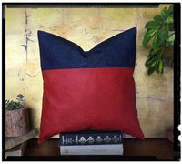 Ready to ship/Red faux leather fabric and denim pillow cover/modern scandinavian homedecor-16x16inch(40x40cm)-1pcs $9.90