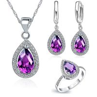 Free Ship Purple Jewelry Sets Water Drop Cubic Zirconia CZ Stone 925 Sterling Silver Color Earrings Necklaces Finger Rings $10.29