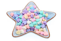 Pack of 300 Assorted Colours Pastel Acrylic Heart Beads. 7mm x 8mm Spacers £9.99