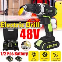 48V Electric Drill Screwdriver Rechargeable Cordless Drill Woodworking W/ 1/2 Li-Ion Battery