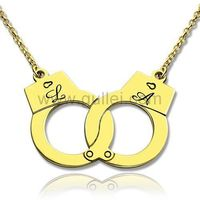 Gullei.com Initials Engraved Handcuffs Gold Plated Pendant Gift