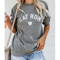 CAT MOM Heart Print Hoodies Women's Autumn Winter Fashionable Long Sleeve Casual Sweatshirt $18.01