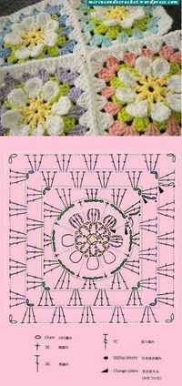 flower crochet patterns, granny square patterns and square patterns.